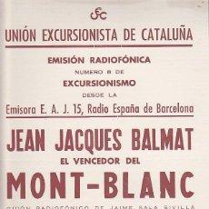 Coleccionismo deportivo: CARTEL UNION EXCURSIONISTA DE CATALUÑA 23 JUNIO 1954. Lote 93021905