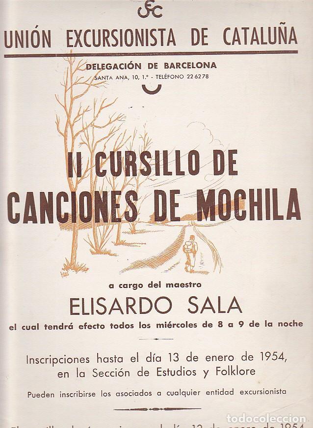 CARTEL UNION EXCURSIONISTA DE CATALUÑA II CURSILLO DE CANCIONES DE MOCHILA (Coleccionismo Deportivo - Carteles otros Deportes)
