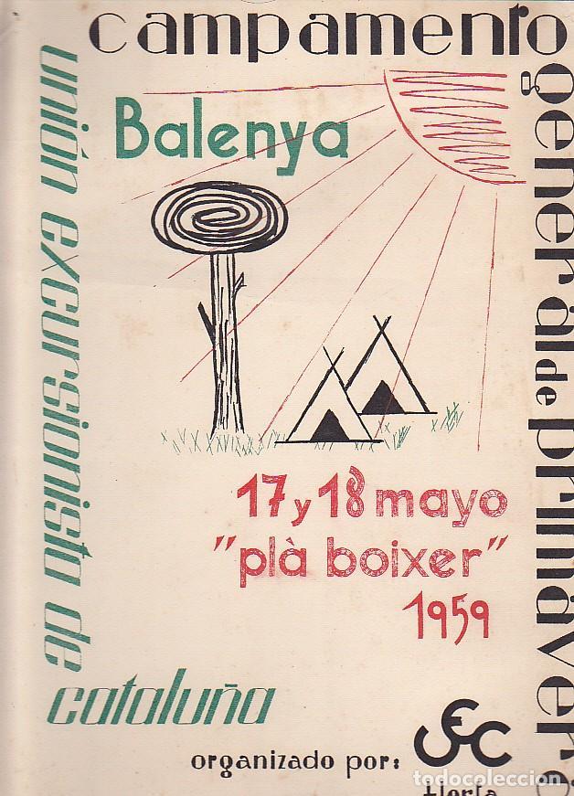 CARTEL UNION EXCURSIONISTA DE CATALUÑA VSMPSMENTO GENERAL PRIMAVERA 1959 BALENYA (Coleccionismo Deportivo - Carteles otros Deportes)