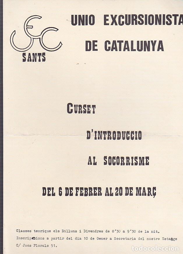 CARTEL UNION EXCURSIONISTA DE CATALUÑA CURSET D'INTRUDUCCIO AL SOCORRISME (Coleccionismo Deportivo - Carteles otros Deportes)