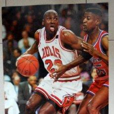 Coleccionismo deportivo: POSTER DOBLE ANTIGUO BALONCESTO BASKET MICHAEL JORDAN & MAGIC JOHNSON. NBA VINTAGE AÑOS 80. Lote 95586819