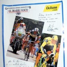 Coleccionismo deportivo: POSTER ANTIGUO DIARIO VASCO CICLISMO VINTAGE. MARINO LEJARRETA - CABESTANY. FIRMAS. DEDICATORIA.. Lote 95772879