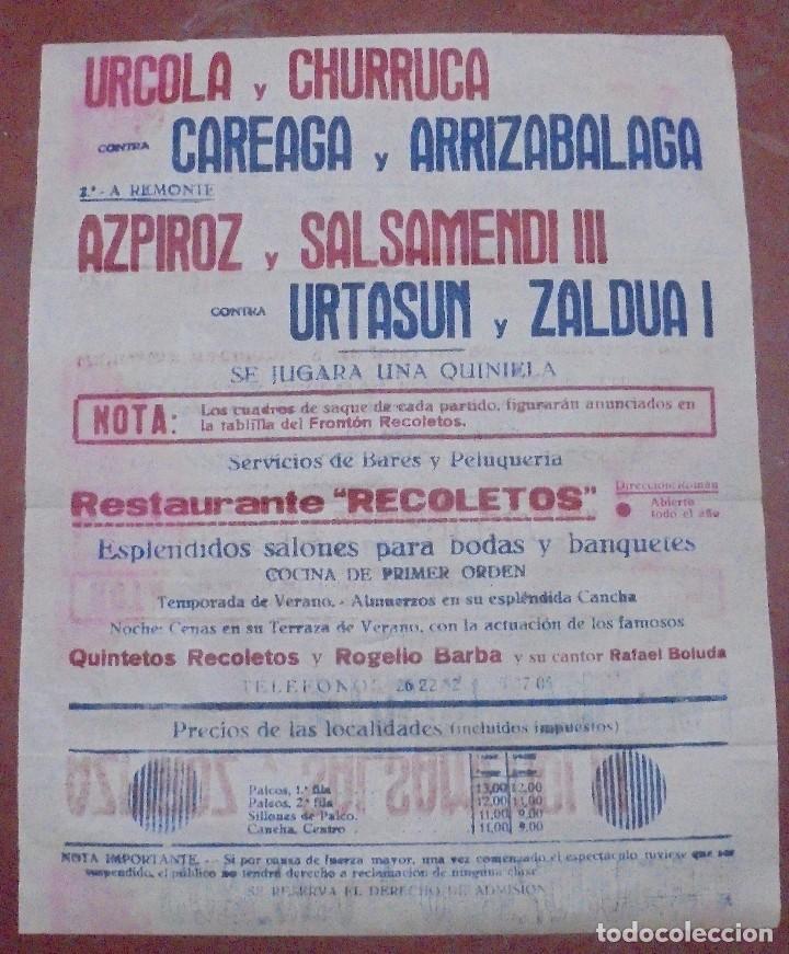 Coleccionismo deportivo: CARTEL. FRONTON RECOLETOS. 1948 RESTAURANTE 1CARTEL EN 2PARTES. 1.67M X 64CM. VER FOTOS. GRAN TAMAÑO - Foto 3 - 97021827
