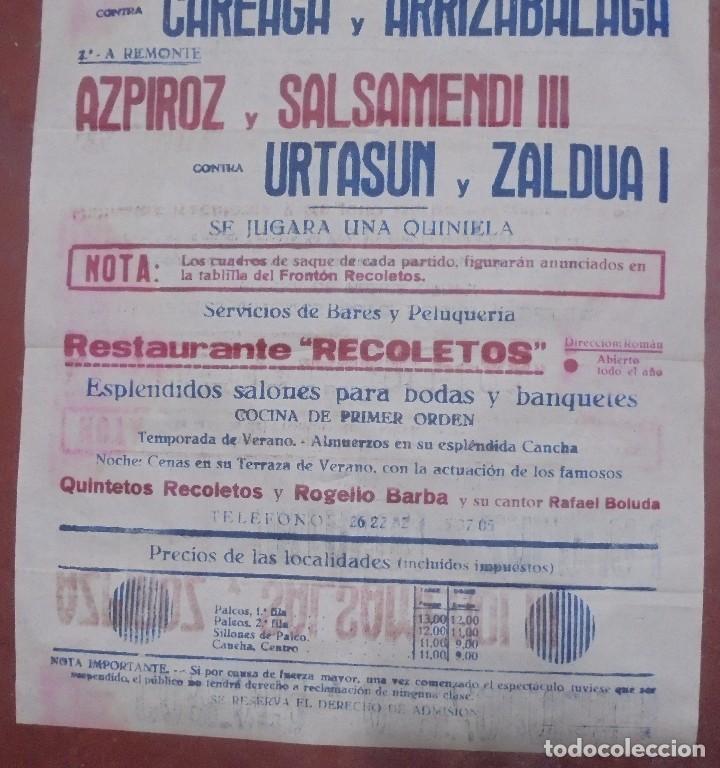 Coleccionismo deportivo: CARTEL. FRONTON RECOLETOS. 1948 RESTAURANTE 1CARTEL EN 2PARTES. 1.67M X 64CM. VER FOTOS. GRAN TAMAÑO - Foto 7 - 97021827