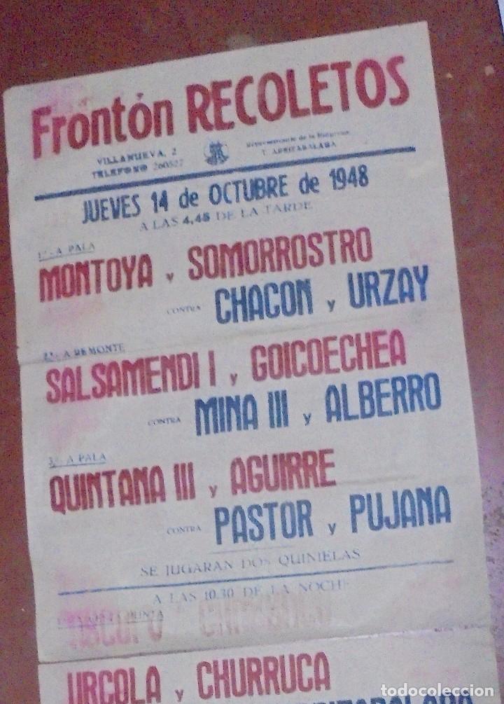 Coleccionismo deportivo: CARTEL. FRONTON RECOLETOS. 1948 RESTAURANTE 1CARTEL EN 2PARTES. 1.67M X 64CM. VER FOTOS. GRAN TAMAÑO - Foto 8 - 97021827