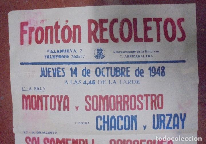 Coleccionismo deportivo: CARTEL. FRONTON RECOLETOS. 1948 RESTAURANTE 1CARTEL EN 2PARTES. 1.67M X 64CM. VER FOTOS. GRAN TAMAÑO - Foto 12 - 97021827