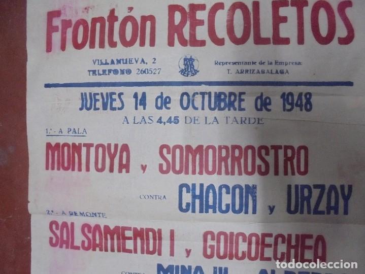 Coleccionismo deportivo: CARTEL. FRONTON RECOLETOS. 1948 RESTAURANTE 1CARTEL EN 2PARTES. 1.67M X 64CM. VER FOTOS. GRAN TAMAÑO - Foto 13 - 97021827