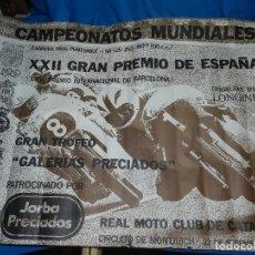 Coleccionismo deportivo: (M) CARTEL XXII GRAN PREMIO DE ESPAÑA REAL MOTO CLUB DE BARCELONA 1972, CIRCUITO DE MONTJUICH. Lote 97788606
