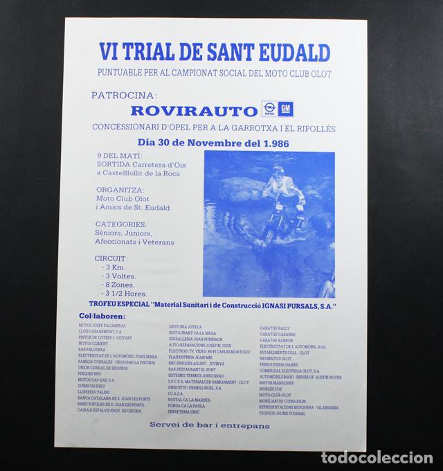 CARTEL POSTER VI TRIAL DE SANT EUDALD, OLOT 1986 41 X 29,50 CM (Coleccionismo Deportivo - Carteles otros Deportes)