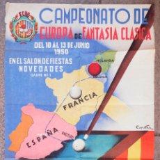 Coleccionismo deportivo: BILLAR, CAMPEONATO DE EUROPA DE FANTASÍA CLÁSICA, 1950. SALA NOVEDADES, BARCELONA. 50X69CM.. Lote 101448303