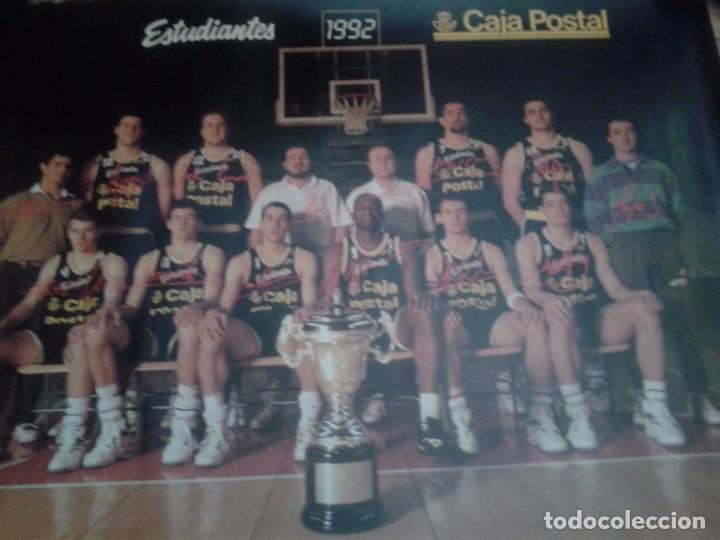 POSTER EQUIPO BALONCESTO ESTUDIANTES 1992. CAMPEON COPA DEL REY (Coleccionismo Deportivo - Carteles otros Deportes)