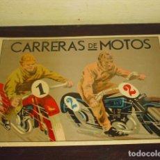 Coleccionismo deportivo: CARTEL- CARRERAS DE MOTOS - ORIGINAL AÑOS 30- 40 -. Lote 103600003