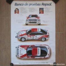 Coleccionismo deportivo: CARTEL POSTER BANCO DE PRUEBAS REPSOL CAMPEONATO MUNDO DE RALLYES 1990. CARLOS SAINZ. Lote 104072443