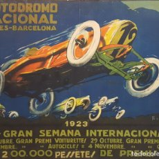 Coleccionismo deportivo: CARTEL ORIGINAL AUTODRÓMO NACIONAL. SÍTGES. BARCELONA. JOSÉ SEGRELLES. 1923.. Lote 104859207