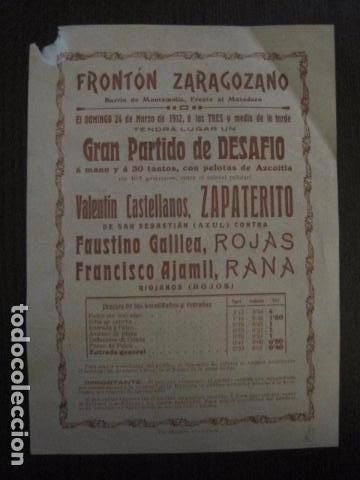 FRONTON - FRONTON ZARAGOZANO- BARRIO MONTEMOLIN - FRENTE MATADERO- AÑO 1912- VER FOTOS- (V-12.822) (Coleccionismo Deportivo - Carteles otros Deportes)