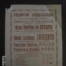 Coleccionismo deportivo: FRONTON - FRONTON ZARAGOZANO- BARRIO MONTEMOLIN - FRENTE MATADERO- AÑO 1912- VER FOTOS- (V-12.822) . Lote 104883279