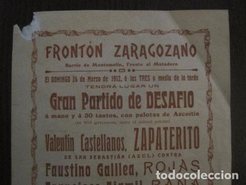 Coleccionismo deportivo: FRONTON - FRONTON ZARAGOZANO- BARRIO MONTEMOLIN - FRENTE MATADERO- AÑO 1912- VER FOTOS- (V-12.822) - Foto 2 - 104883279