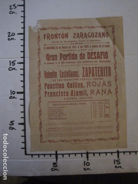 Coleccionismo deportivo: FRONTON - FRONTON ZARAGOZANO- BARRIO MONTEMOLIN - FRENTE MATADERO- AÑO 1912- VER FOTOS- (V-12.822) - Foto 5 - 104883279