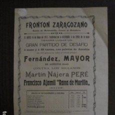 Coleccionismo deportivo: FRONTON - FRONTON ZARAGOZANO- BARRIO MONTEMOLIN - FRENTE MATADERO- AÑO 1912- VER FOTOS- (V-12.819) . Lote 104883391