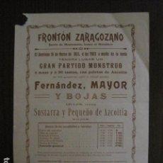 Coleccionismo deportivo: FRONTON - FRONTON ZARAGOZANO- BARRIO MONTEMOLIN - FRENTE MATADERO- AÑO 1913- VER FOTOS- (V-12.820) . Lote 104883527