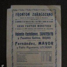 Coleccionismo deportivo: FRONTON - FRONTON ZARAGOZANO- BARRIO MONTEMOLIN - FRENTE MATADERO- AÑO 1912- VER FOTOS- (V-12.821) . Lote 104883623