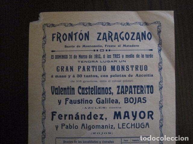 Coleccionismo deportivo: FRONTON - FRONTON ZARAGOZANO- BARRIO MONTEMOLIN - FRENTE MATADERO- AÑO 1912- VER FOTOS- (V-12.821) - Foto 2 - 104883623