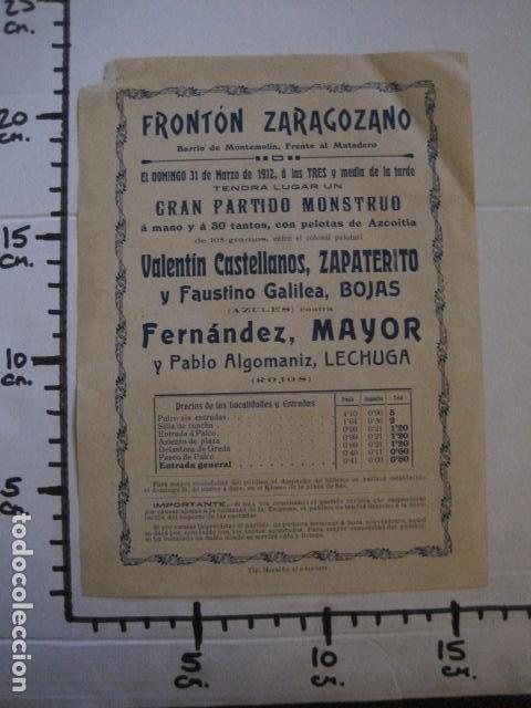 Coleccionismo deportivo: FRONTON - FRONTON ZARAGOZANO- BARRIO MONTEMOLIN - FRENTE MATADERO- AÑO 1912- VER FOTOS- (V-12.821) - Foto 5 - 104883623