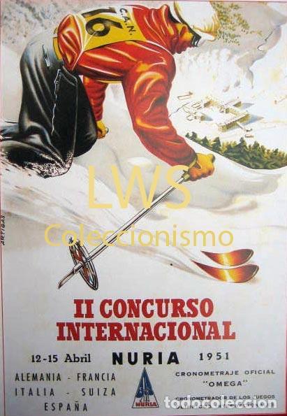 II CONCURSO INTERNACIONAL NURIA 1951 - PUBLICIDAD IMÁGENES DEPORTES ESQUÍ S-3 (Coleccionismo Deportivo - Carteles otros Deportes)