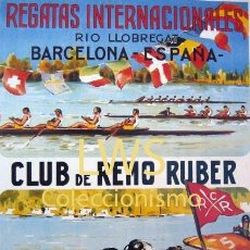 Coleccionismo deportivo: REGATAS INTERNACIONALES CLUB DE REMO RUBER 1954 PUBLICIDAD IMÁGENES DEPORTES PIRAGÜISMO S-4. Lote 110892351