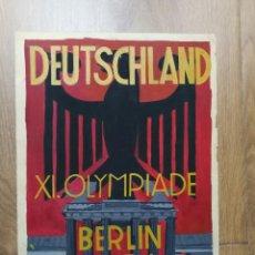 Coleccionismo deportivo: CARTEL ORIGINAL REALIZADO EN ACUARELA POR G.PISKORS EN 1933 CON MOTIVO DE LA XI OLIMPIADA DE BERLIN. Lote 111344599