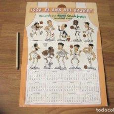 Coleccionismo deportivo: CARTEL CALENDARIO DE EL AÑO DEL BASKET - RECUERDO DEL TROFEO EL CORTE INGLES - 1985. Lote 115461611