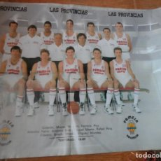 Coleccionismo deportivo: CARTEL POSTER BALONCESTO PAMESA VALENCIA TEMPORADA 88 / 89 LAS PROVINCIAS, REVERSO FUTBOL VALENCIA . Lote 117590979