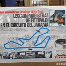 Coleccionismo deportivo: CARTEL 48X69 CM. FITTIPALDI EN EL JARAMA .NEUMATICOS FIRESTONE.. Lote 122974451