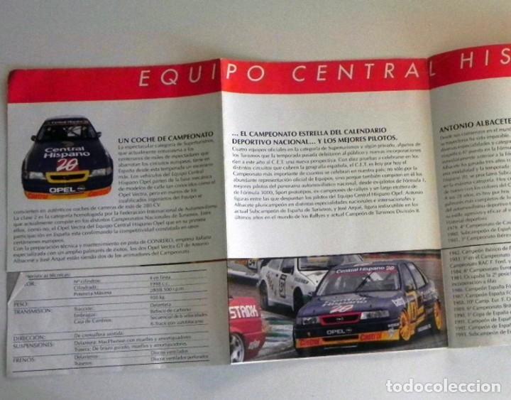 Coleccionismo deportivo: PÓSTER FOLLETO PUBLICITARIO EQUIPO CENTRAL HISPANO OPEL - COCHE VECTRA ALBACETE ARQUÉ DEPORTE ESPAÑA - Foto 3 - 128693983