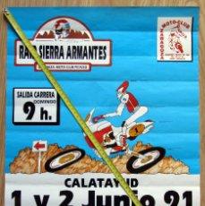 Coleccionismo deportivo: CARTEL MOTOCICLISMO RAID SIERRA ARMANTES CALATAYUD 1991 PATRICINIO AMBAR CERVEZA MOTO CLUB PICASSO. Lote 129389947