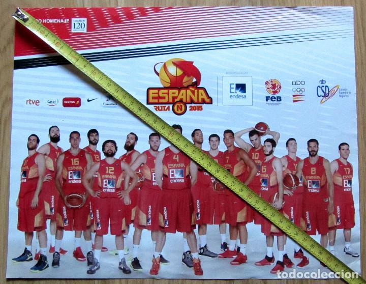 POSTER SELECCION ESPAÑOLA BALONCESTO 2015 BASKETBALL PAU GASOL RUTA Ñ (Coleccionismo Deportivo - Carteles otros Deportes)