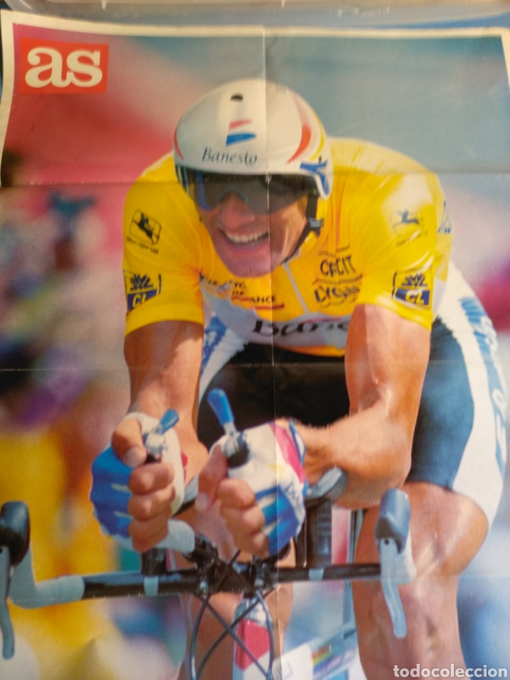 Coleccionismo deportivo: Póster Miguel Indurain ,en unos de sus tours, diario AS - Foto 2 - 133808158