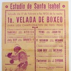 Coleccionismo deportivo: ANTIGUO CARTEL 1ª VELADA DE BOXEO CAMPEONATOS DE FERNANDO POO (GUINEA ESPAÑOLA), 32,50X22 CM UZCUDUM. Lote 134831914