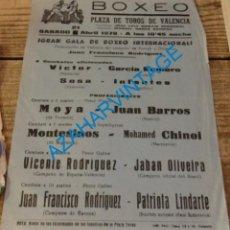 Coleccionismo deportivo: VALENCIA, 1979, CARTEL GALA DE BOXEO INTERNACIONAL, 160X220MM. Lote 135050430