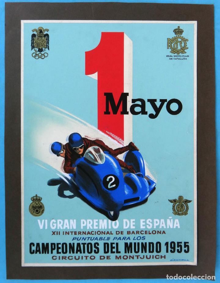 CARTEL MOTO CLUB CAMPEONATO DEL MUNDO 1955, MONTJUICH , PINTADO A MANO GRANELL , PINTURA ORIGINAL (Coleccionismo Deportivo - Carteles otros Deportes)