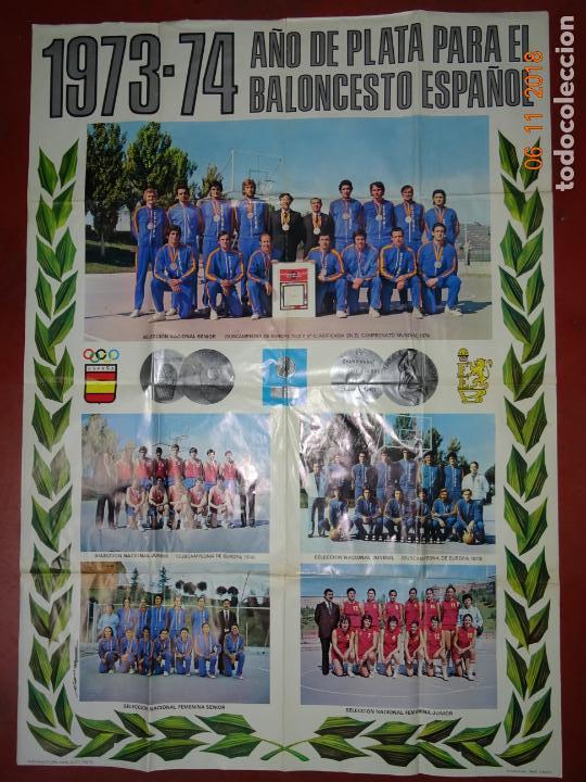 Coleccionismo deportivo: Antiguo Cartel de Selecciones Españolas de Baloncesto del Año 1973-74 Año Plata Baloncesto Español - Foto 9 - 139244554