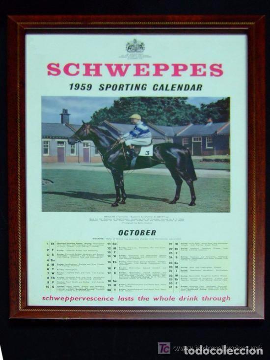 CALENDARIO INGLÉS CABALLO CARRERAS, MES OCTUBRE ,ORIGINAL DE 1959, SCHWEPPES , (Coleccionismo Deportivo - Carteles otros Deportes)