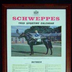 Coleccionismo deportivo: CALENDARIO INGLÉS CABALLOS, ORIGINAL SCHWEPPES 1959. Lote 144007998