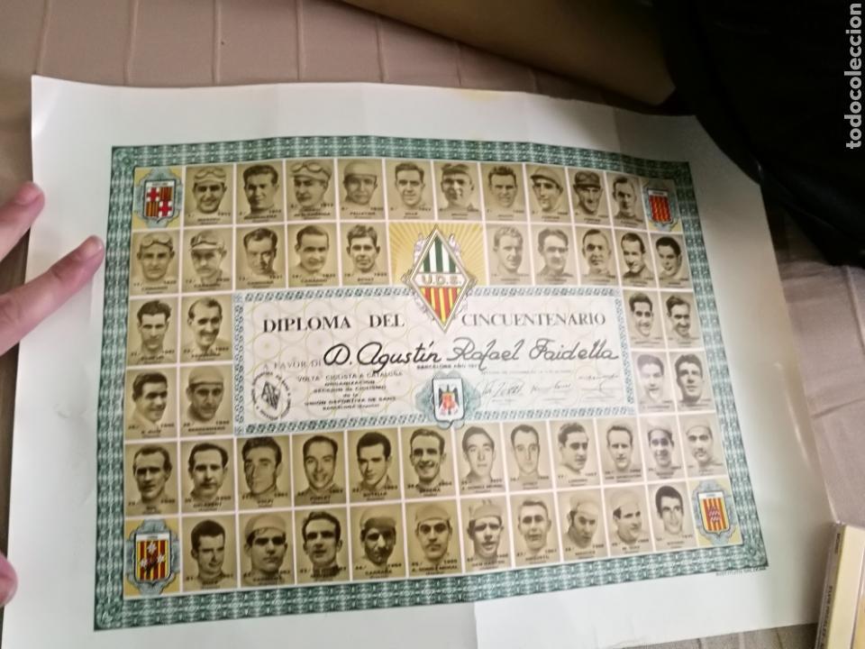 Coleccionismo deportivo: DIPLOMA CINCUENTENARIO UNION DEPORTIVA CICLISTA SANS 1971.Todos los campeones de la «Volta» ciclista - Foto 3 - 144009305