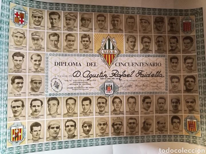 Coleccionismo deportivo: DIPLOMA CINCUENTENARIO UNION DEPORTIVA CICLISTA SANS 1971.Todos los campeones de la «Volta» ciclista - Foto 8 - 144009305