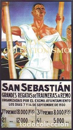 SAN SEBASTIAN - GRANDES REGATAS DE TRAINERAS A REMO 1930 - PUBLICIDAD IMÁGENES DEPORTES (Coleccionismo Deportivo - Carteles otros Deportes)