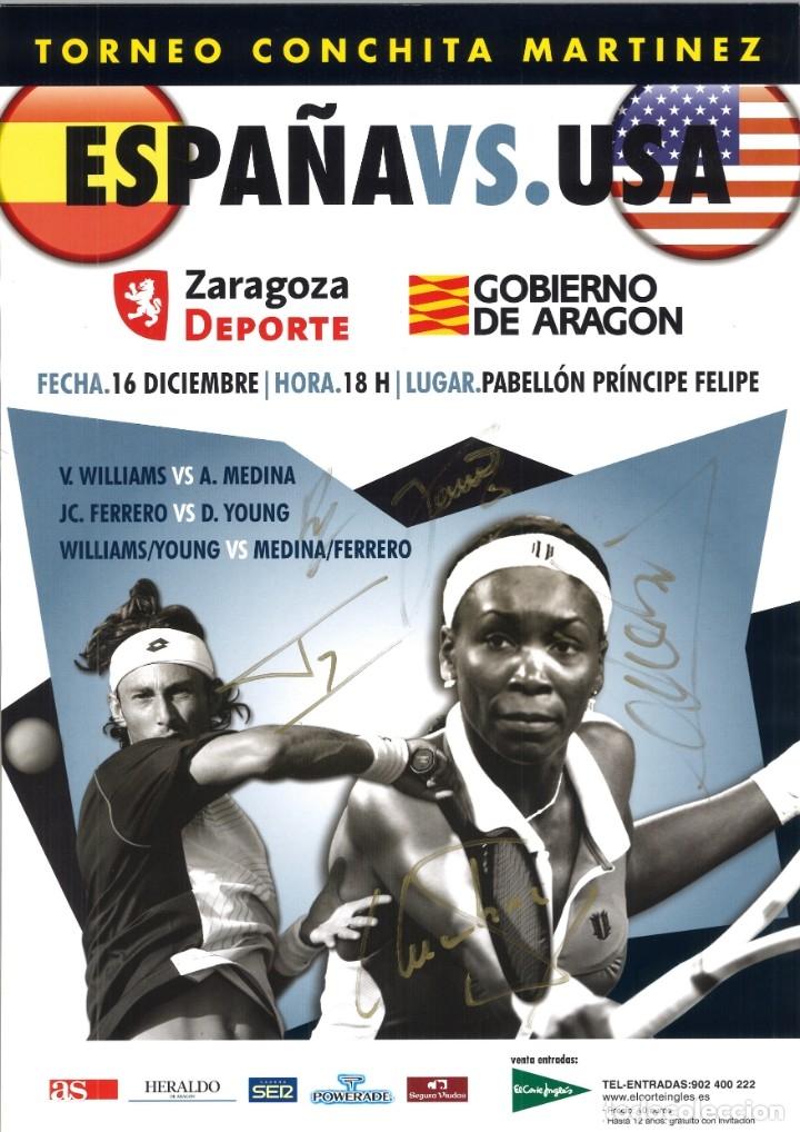 CARTEL TENIS ESPAÑA - USA - CON LAS FIRMAS ORIGINALES (Coleccionismo Deportivo - Carteles otros Deportes)
