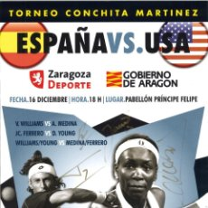 Coleccionismo deportivo: CARTEL TENIS ESPAÑA - USA - CON LAS FIRMAS ORIGINALES. Lote 145650078