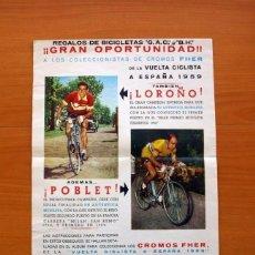 Coleccionismo deportivo: CARTEL - CICLISMO - CROMOS VUELTA CICLISTA A ESPAÑA 1959 - EDITORIAL FHER - TAMAÑO 43X22. Lote 146418158