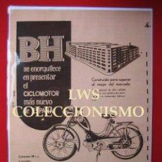 Coleccionismo deportivo: BH EL CICLOMOTOR MAS NUEVO, BEISTEGUI HERMANOS S.A. EIBAR PUBLICIDAD IMÁGENES MOTOR MOTOCICLETAS. Lote 147469062